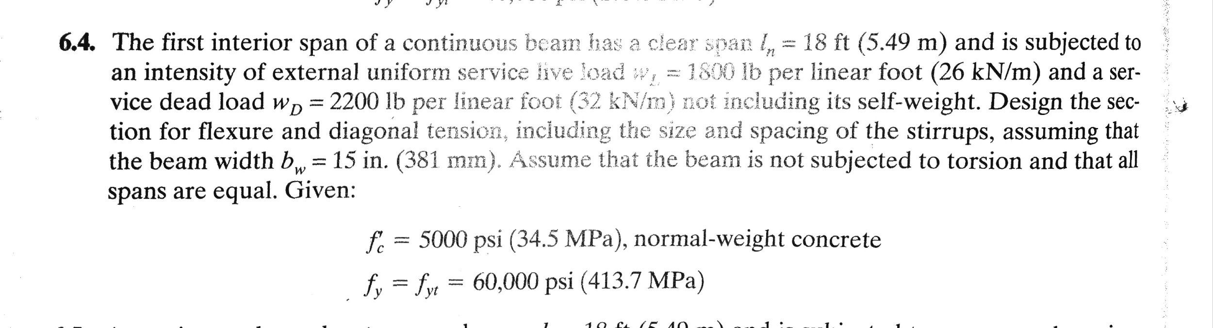 The first interior span of a continuous beam has a