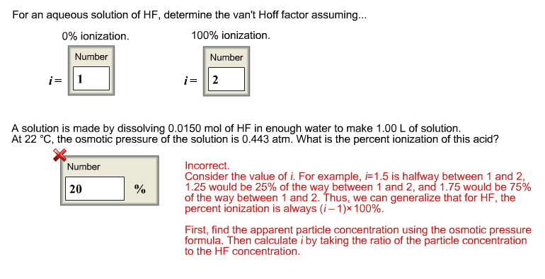 For an aqueous solution of HF, determine the van't
