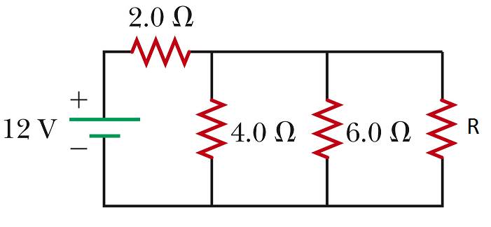For the circuit below with the resistor R = 6.0 ?