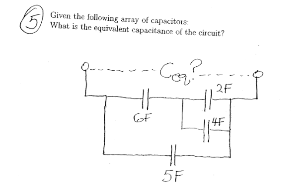 Given the following array of capacitors: what is t