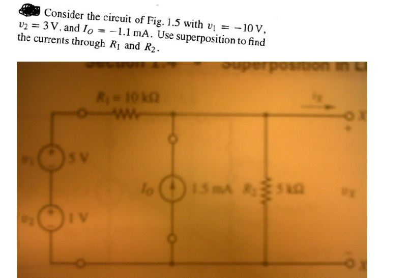 Consider the circuit of Fig. 1.5 with v1 = -10 V,