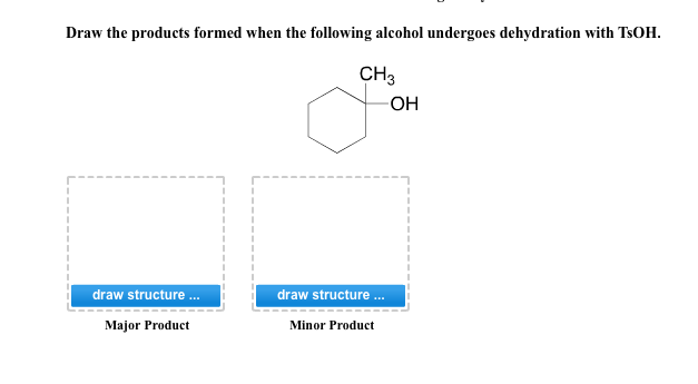 Draw the products formed when the following alcoho