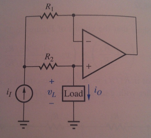 Show that the circuit of the figure is a current d
