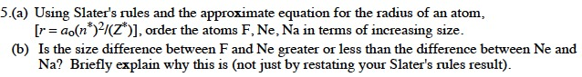 Using Slater's rules and the approximate equation