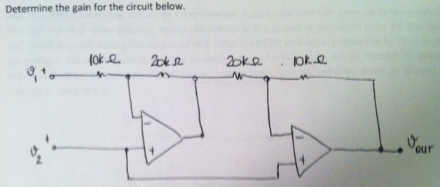 Determine the gain for the circuit below.