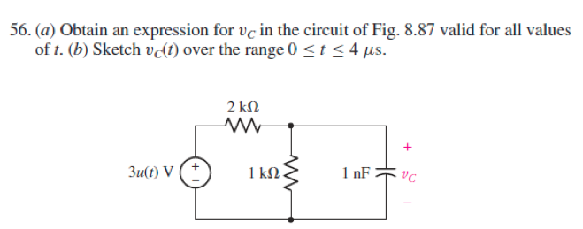 (a) Obtain an expression for vc in the circuit of