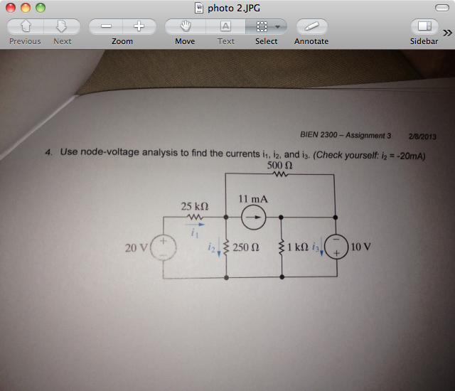 Use node-voltage analysis to find the currents i1