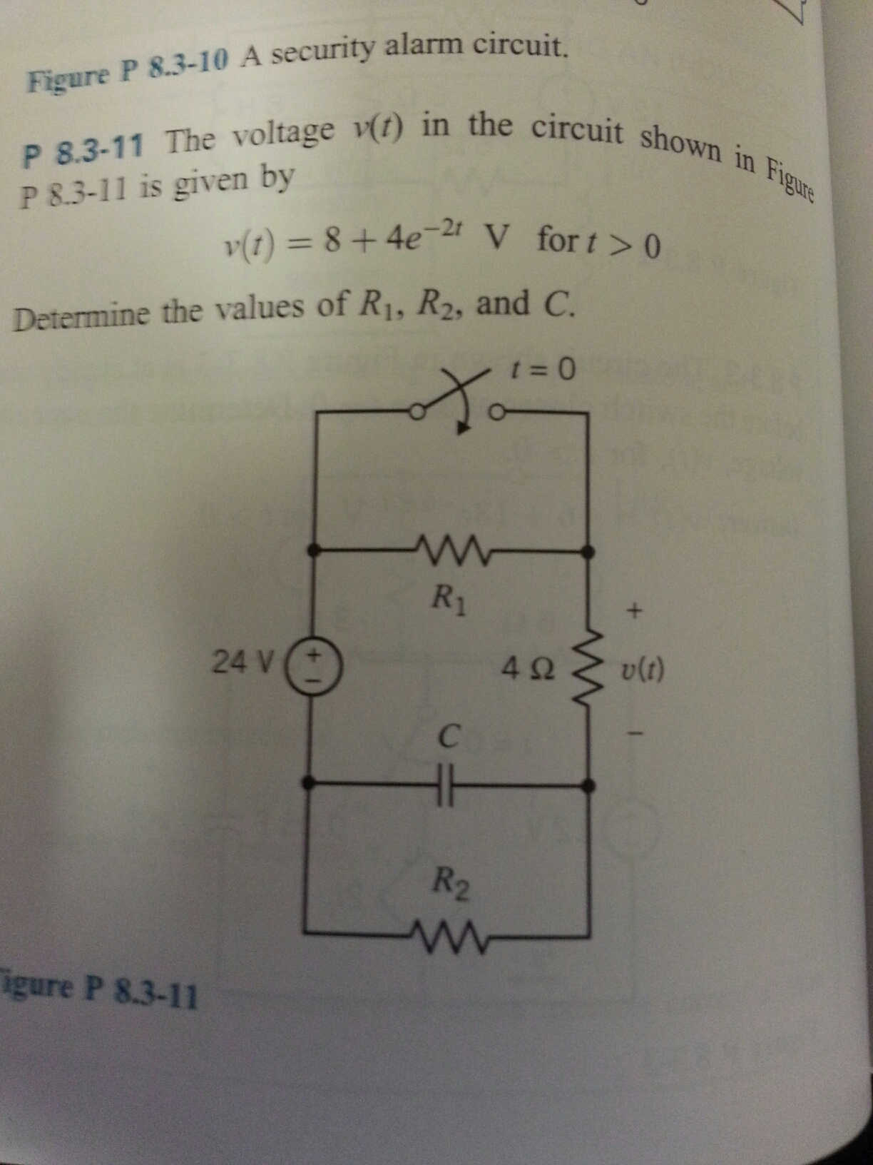 The voltage v(t) in the circuit shown p 8.3-11 is