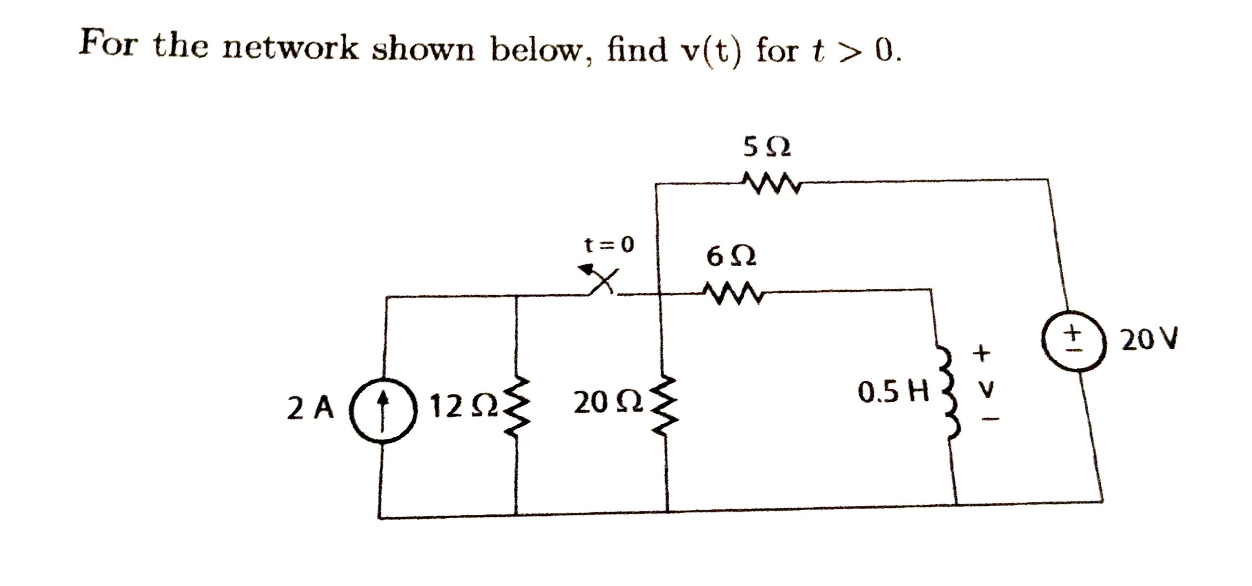 For the network shown below, find v(t) for t > 0.