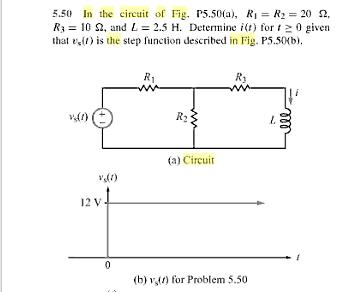 In the circuit of Fig. P5.50(a), R1 = R2 = 20 Ohm.