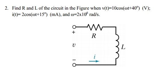 Find R and L of the circuit in the Figure when v(t