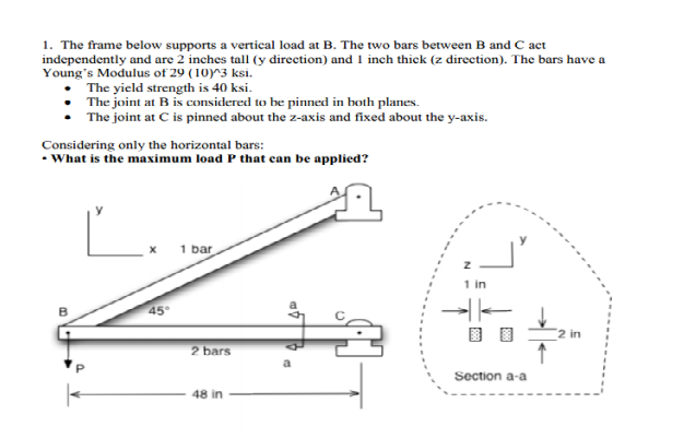 . The frame below supports a vertical load at B. T