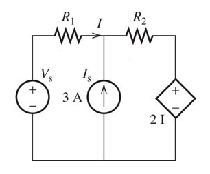 Assume Vs = 11 V , R1 = 2.3 ohm and R2 = 0.6 ohm.