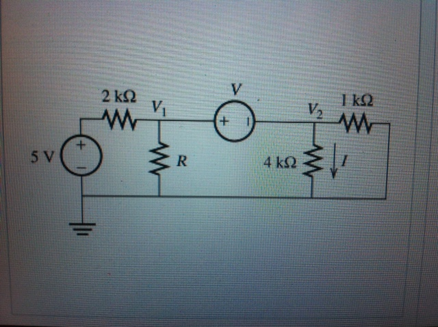 assume that V= 8V and R= 5.4 kilo ohms find I