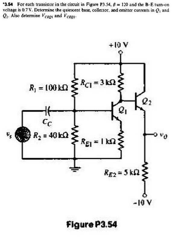 For each transistor in the circuit in Figure P3.54