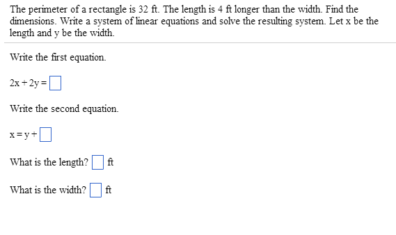 The perimeter of a rectangle is 32 ft. The length