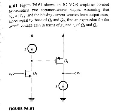 Figure P6.61 shows an IC MOS amplifier formed by c