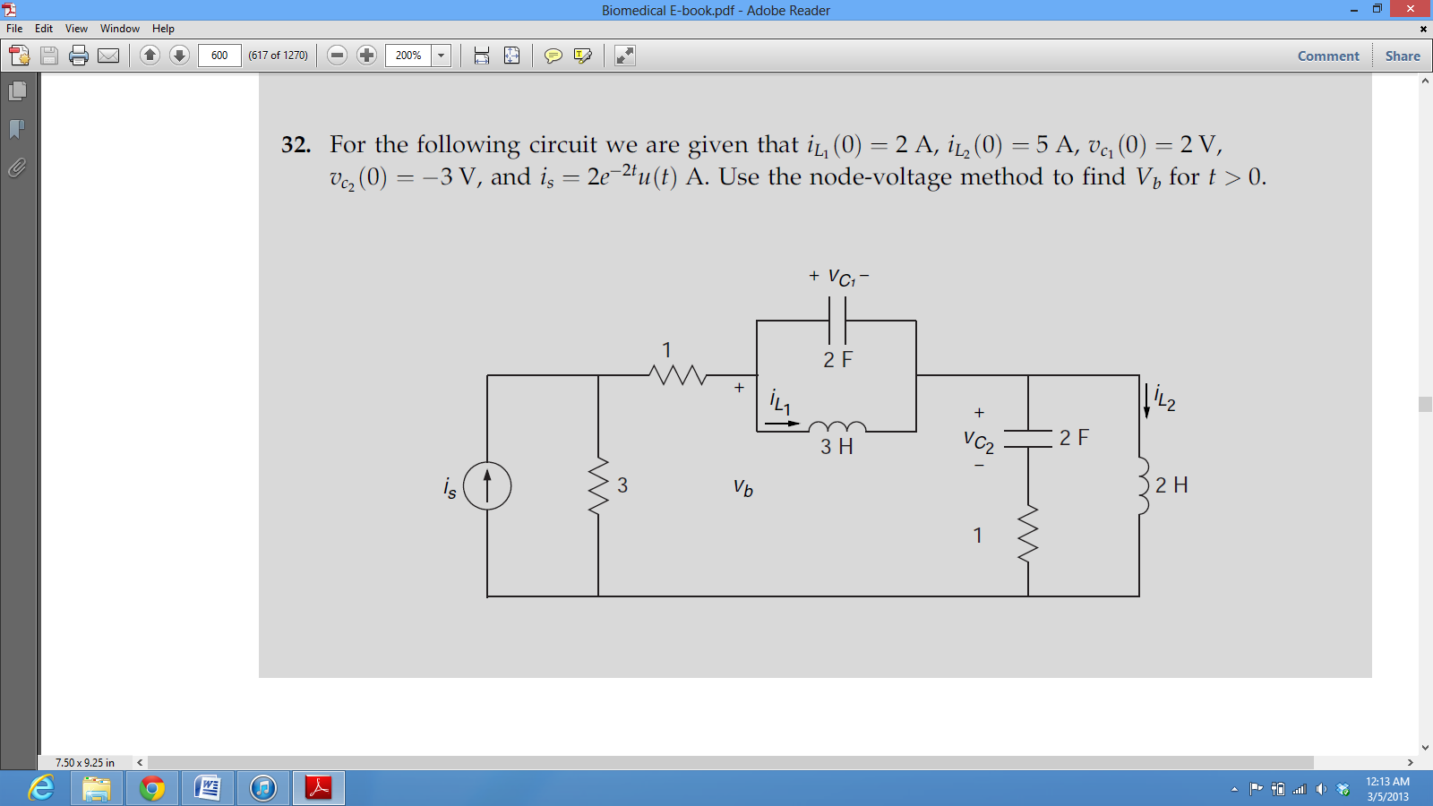 For the following circuit we are given that (0) =