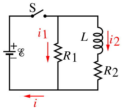 The diagram shows an RL circuit with a switch. ? =