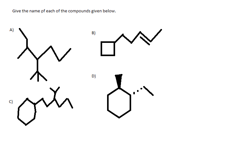 Give the name of each of the compounds given below