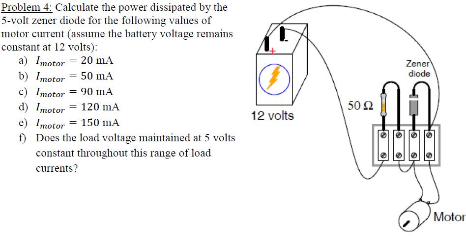 Calculate the power dissipated by the 5-volt zener