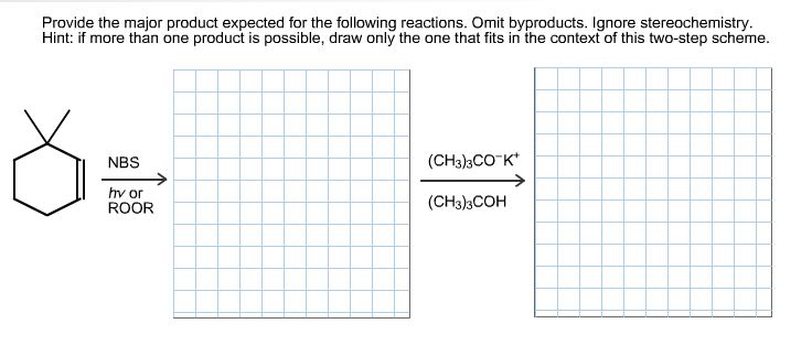 Image for Provide the major product expected for the following reactions. Omit byproducts. Ignore stereochemistry. Hint: