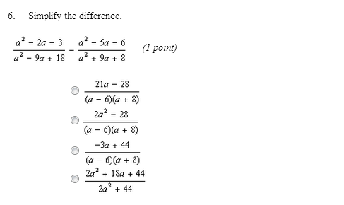 Simplify the difference. a2-2a-3/a2-9a+18 - a2-5a