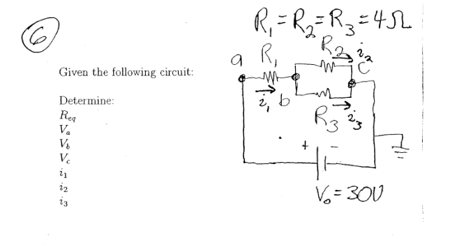 Given the following circuit: Determine: Req Va Vb