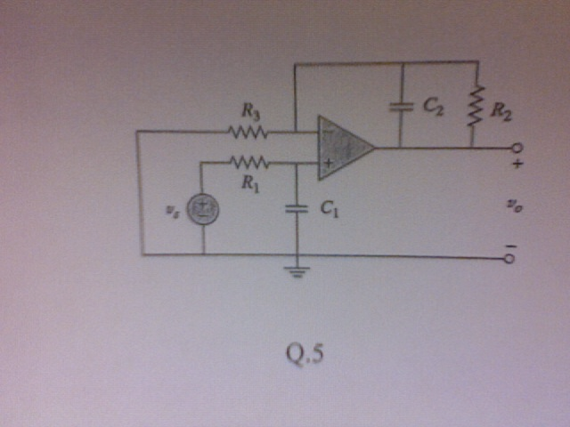 Determine the transfer function for the circuit sh