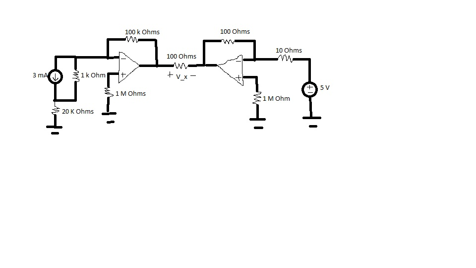 Compute Vx for the multiple op amp circuit