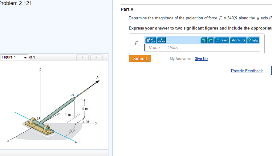 Determine the magnitude of the projection of force