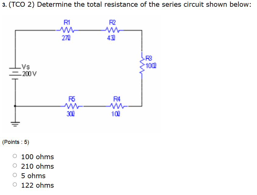 Determine the total resistance of the series circu