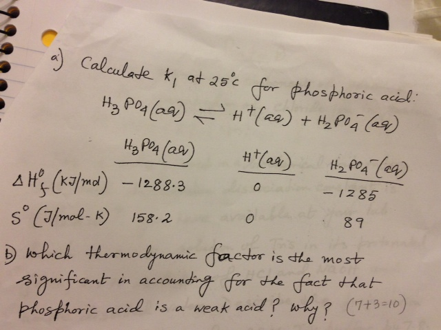 Calculate k1 at 25 degreeree C for phosphoric acid