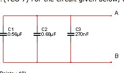 For the circuit given below, determine the total c