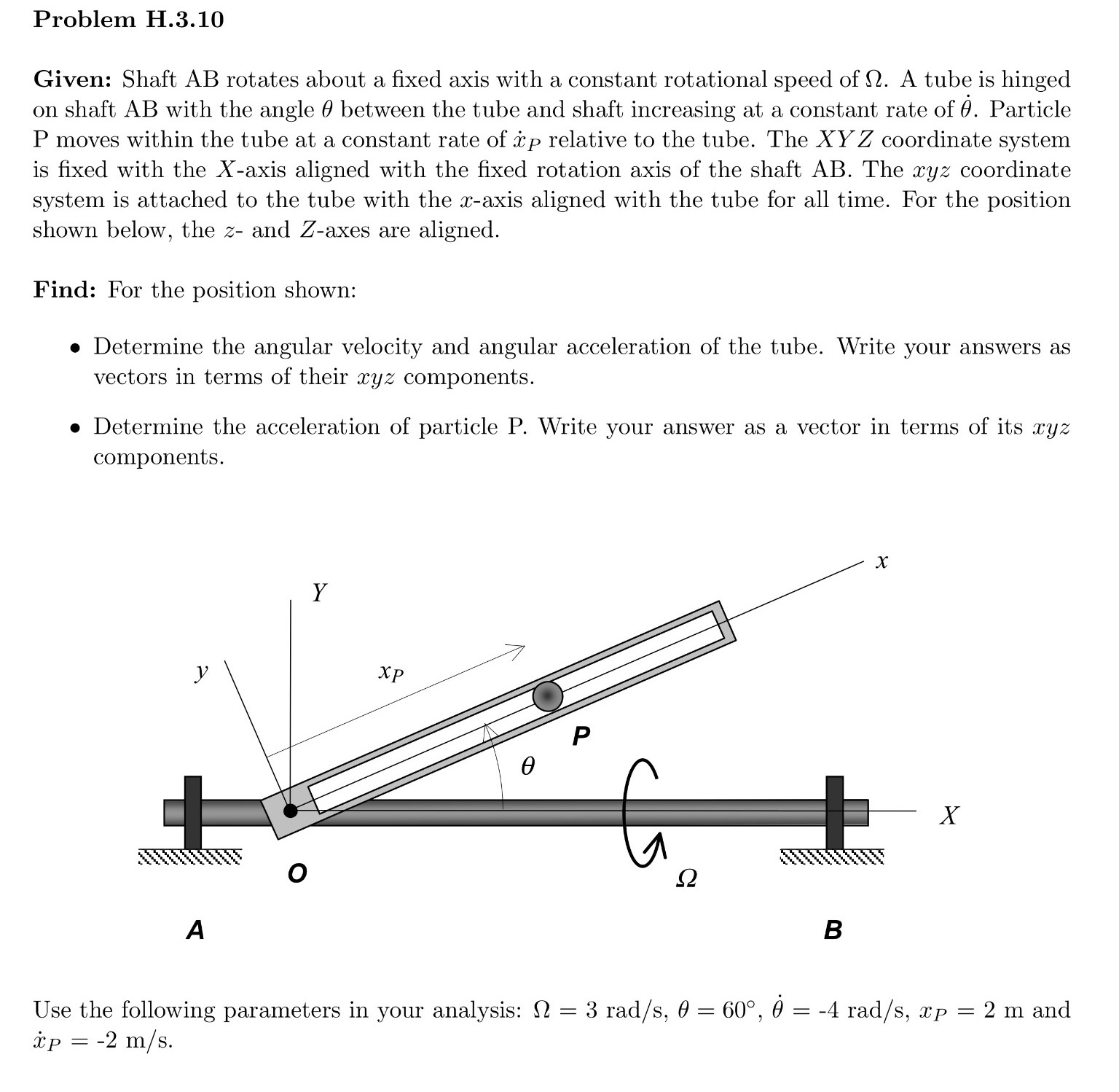 Shaft AB rotates about a fixed axis with a constan