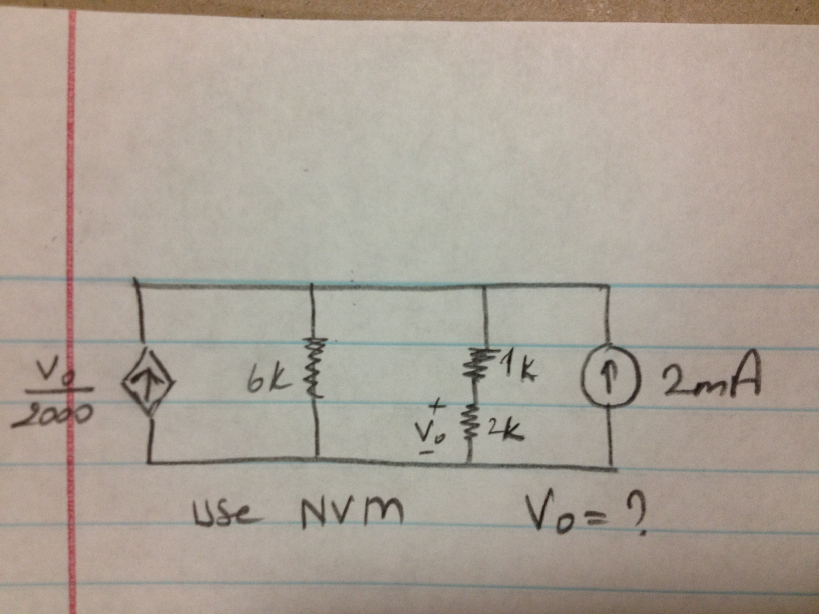 please use NVM (node voltage method) to solve it!