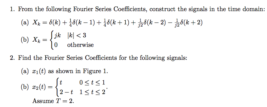 From the following Fourier Series Coefficients, co