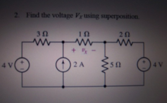 Find the voltage Vx using superposition