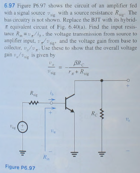 Figure P6.97 shows the circuit of an amplifier fed