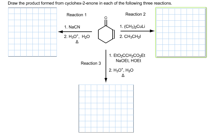 Draw the product formed from cyclohex-2-enone in e