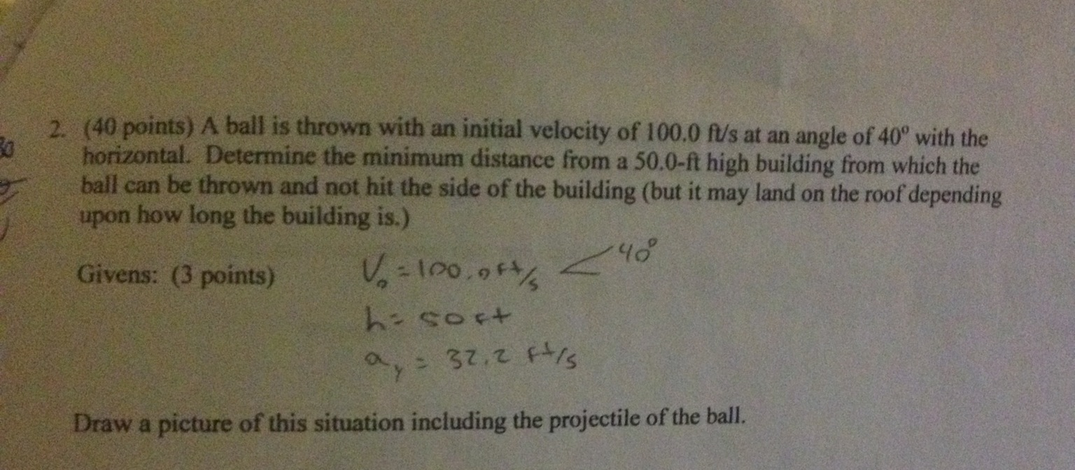 A ball is thrown with an initial velocity of 100.0