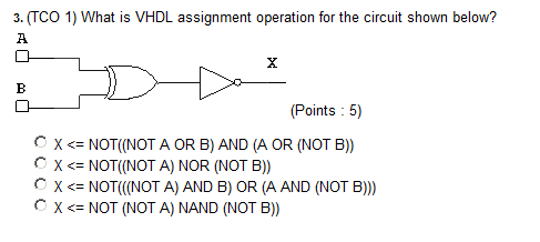 (TCO 1) What is VHDL assignment operation for the