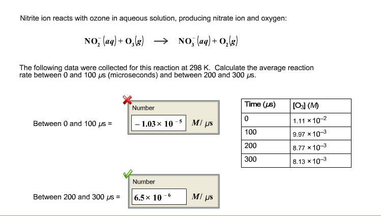 Solved: Nitrite Ion Reacts With Ozone In Aqueous Solution ...