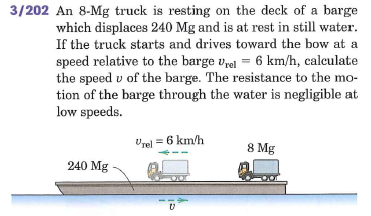 An 8.Mg truck is resting on the deck of a barge wh
