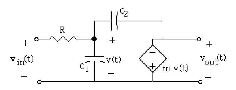 For the circuit immediately below (R=1?, C1=1 F, C