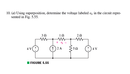 Using superposition, determine the voltage labeled