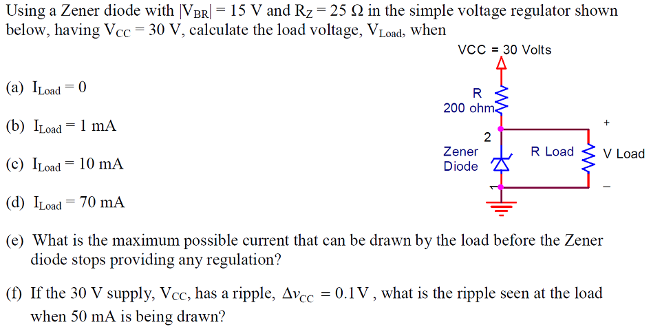Using a Zener diode with |VBR| = 15 V and RZ = 25