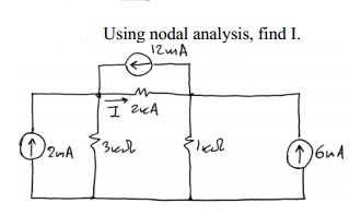 Using nodal analysis, find I.