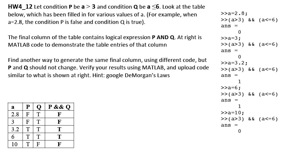 HW4_12 Let condition P be a > 3 and condition Q be