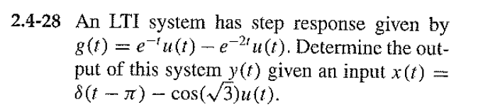 An LTI system has step response given by g(t) = e-